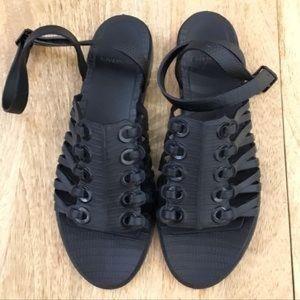 Givenchy Embossed Rubber Grommet Gladiator Sandals